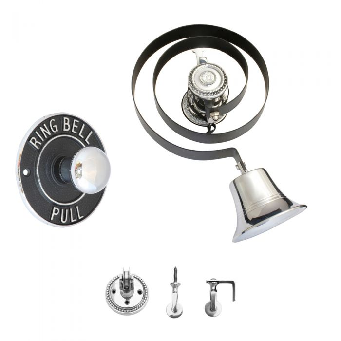 Butlers Doorbell Polished Chrome with Round Embossed Bell Pull